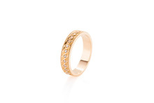 Pink Gold Wedding Ring With Diamonds Isolated On White