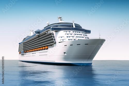 3d render of cruise ship on perfect blue sea Obraz na płótnie