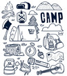 camping hand drawn doodle
