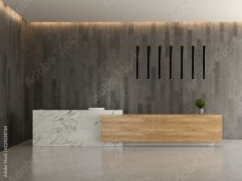 Fototapeta Interior of a lobby hotel reception 3D illustration