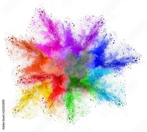 Fotografía  Farbwolke bunt Regenbogen isoliert Colorful rainbow Holi powder cloud isolated