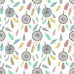 Seamless pattern of dreamcatchers and feathers in boho style. Hand-drawn cart...