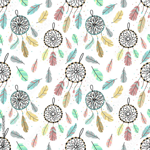 seamless-pattern-of-dreamcatchers-and-feathers-in-boho-style-hand-drawn-cartoon-illustration-using-as-a-print-background-wrapping-paper-postcard