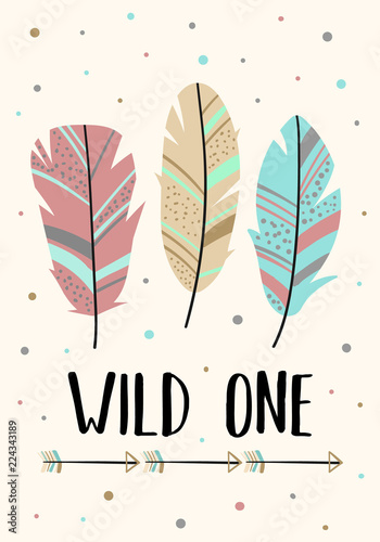 Foto-Lamellenvorhang - Vector image of feathers in the Boho style with the inscription Wild one. Cartoon illustration for use on postcards, banners, posters, prints on clothes for children. (von Anton)
