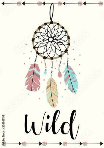 Foto-Lamellenvorhang - Vector image of dreamcatcher and arrows in the Boho style with the inscription Wild. Cartoon illustration for use on postcards, banners, posters, prints on clothes for children. (von Anton)