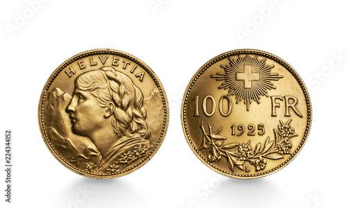 Fotografie, Obraz  Helvetia 100 FR Goldmünze Schweiz