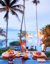 Luxury Resort Restaurant Dinner Table With Barbecue And Food
