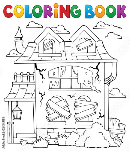 Wall Murals For Kids Coloring book derelict house theme 1