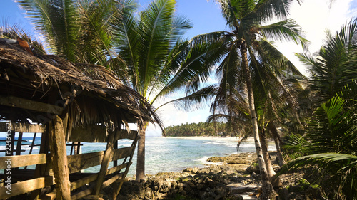In de dag Tropical strand Beautiful tropical island with sand beach, palm trees.Seascape ocean and beautiful beach paradise, Siargao, Philippines. Tropical landscape: beach with palm trees. Travel concept.
