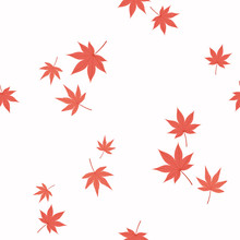 Seamless Repeat Pattern With Falling Japanese Maple Leaves, On A White Background. Hand Drawn Vector Illustration. Flat Style Design. Concept For Autumn Textile Print, Wallpaper, Wrapping Paper.