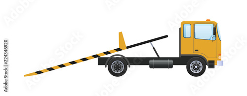 Tableau sur Toile Tow truck with sliding platform, vehicle lifting with retractable ramps