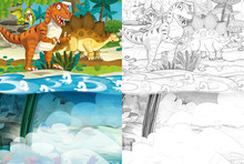 Cartoon Scene With Dinosaurs In The Jungle - With Coloring Page - Illustration For Children