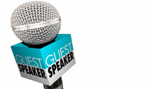 Guest Speaker Welcome Introduction Microphone 3d Illustration