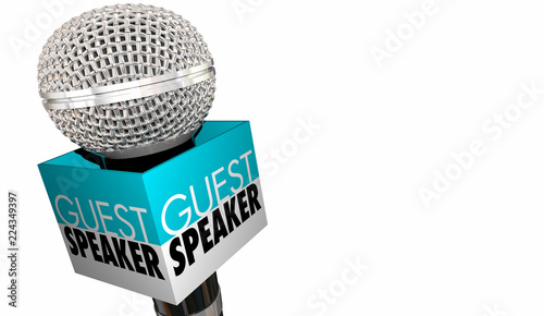 Stampa su Tela Guest Speaker Welcome Introduction Microphone 3d Illustration