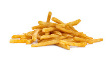 Side View Of A Pile Of Cooked French Fries Isolated On A White Background.