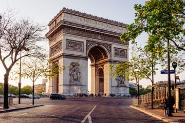 Fototapeta na wymiar Paris Arc de Triomphe (Triumphal Arch) in Chaps Elysees at sunset, Paris, France.