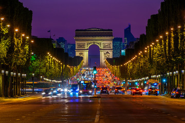 FototapetaChamps-Elysees and Arc de Triomphe at night in Paris, France