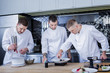 Several cooks. Best young cooks feeling motivated while dealing with molecular gastronomy