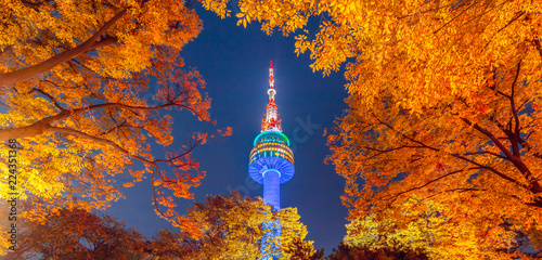 Autocollant pour porte Seoul Fall color change at N seoul tower in the autumn where is the landmark of Seoul city in South Korea