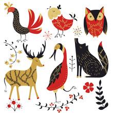 Folk Collection.Deer,bird,wolf...