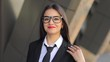 Portrait of smiling caucasian successful businesswoman entrepreneur. Slow motion