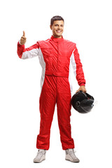Car racer in a suit showing thumbs up