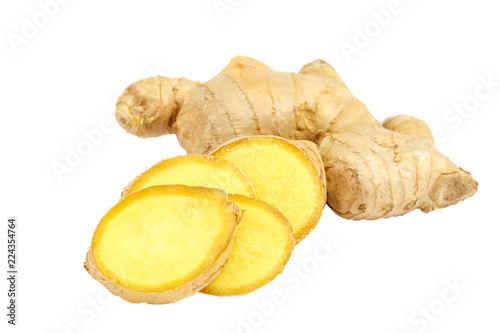 Valokuva Ginger root isolated on a white background