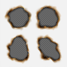 Vector Set Of Realistic Holes Burnt In Paper Isolated On Transparent Background