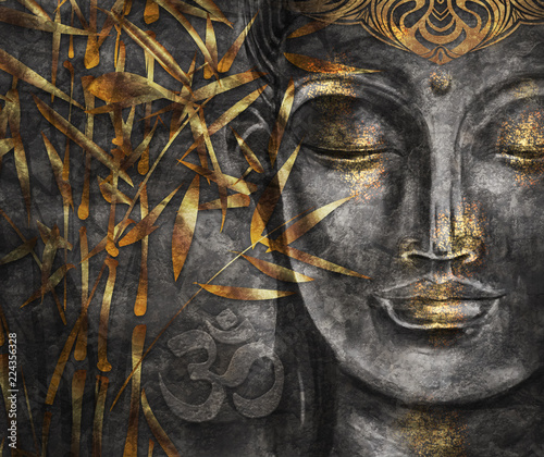 Photo sur Aluminium Buddha Head Smiling Buddha