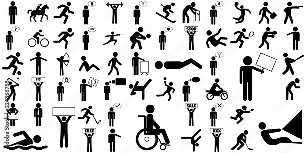 Fototapety, obrazy: Large set of different stick figure icons