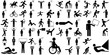 Large set of different stick figure icons