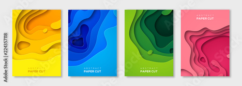 Vertical paper cut banners set Fototapet