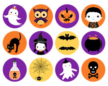 Cute Halloween Vector Icons In Flat Style - Round Circle Shape In Orange, Purple And Black Colors