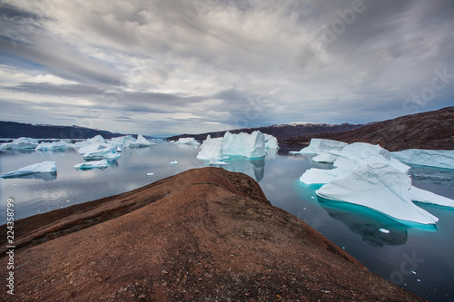 Wall Murals Arctic massive Icebergs floating in the fjord scoresby sund, east Greenland