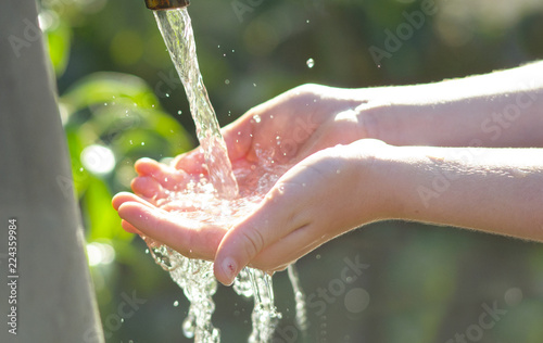 mani di bambina che raccolgono acqua di fonte Tablou Canvas