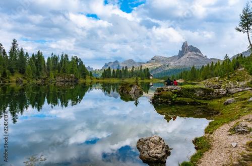 Summer Federa lake with Dolomites peak, Cortina D'Ampezzo, Dolomites, Italy