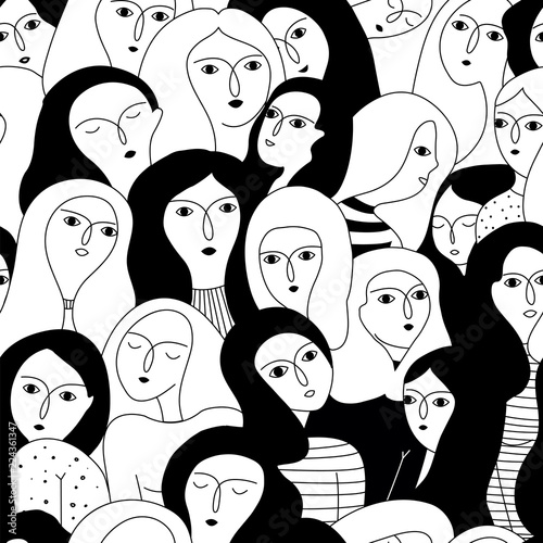 Vector seamless pattern with women faces. Fototapete