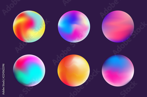 Canvas Print Set gradient colorful sphere in trendy style