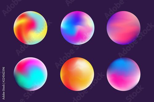 Papel de parede Set gradient colorful sphere in trendy style