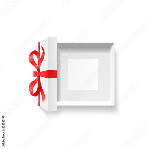 Empty Open Gift Box Red Color Bow Knot Ribbon With Blank Photo