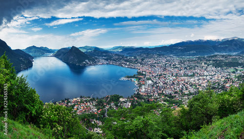 Lugano, Switzerland, May 12, 2018. Panoramic sight from Monte Brè Mountain.