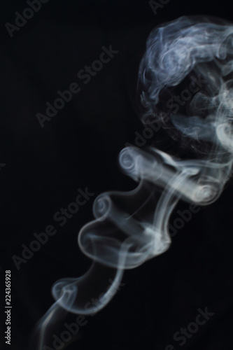 Deurstickers Rook Abstract white smoke texture on black background