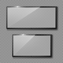 Vector Realistic Set With Blank TV Frames, Black Led Displays Or Monitors, Isolated On Transparent Background. Mockup Of Plasma Panels, Flat Lcd Screens With Empty Space Inside For Your Design