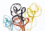Sztuka abstrakcyjna kwiaty. Ręcznie malowane akwarela na papierze. - 224368964