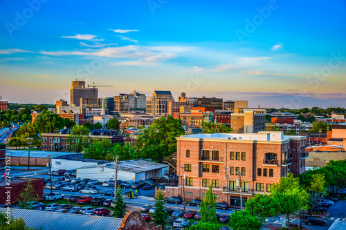 Fotomural Sunset over Downtown Greenville South Carolina SC Skyline
