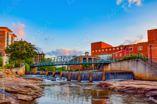 Fototapeta  Sunrise over RiverPlace in Greenville, South Carolina, USA