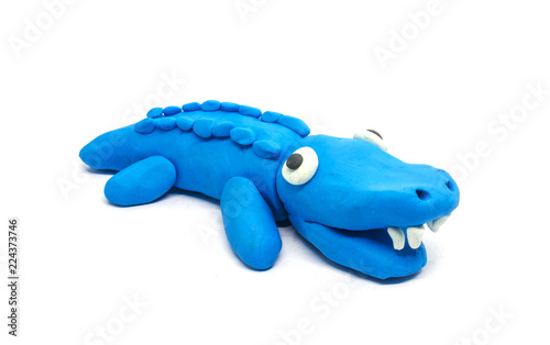 play doh crocodile on white background
