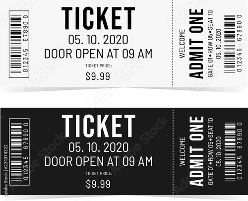 Photo Simple tickets. Black and White