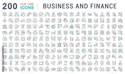 Photo  Set Vector Line Icons of Business and Finance.