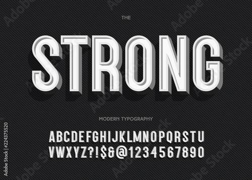 Vector strong font modern typography sans serif style for book, promotion, poster, decoration, t shirt, sale banner, printing on fabric Fototapet